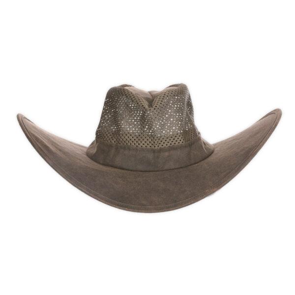 Brown Faux Leather Packable Sun Hat